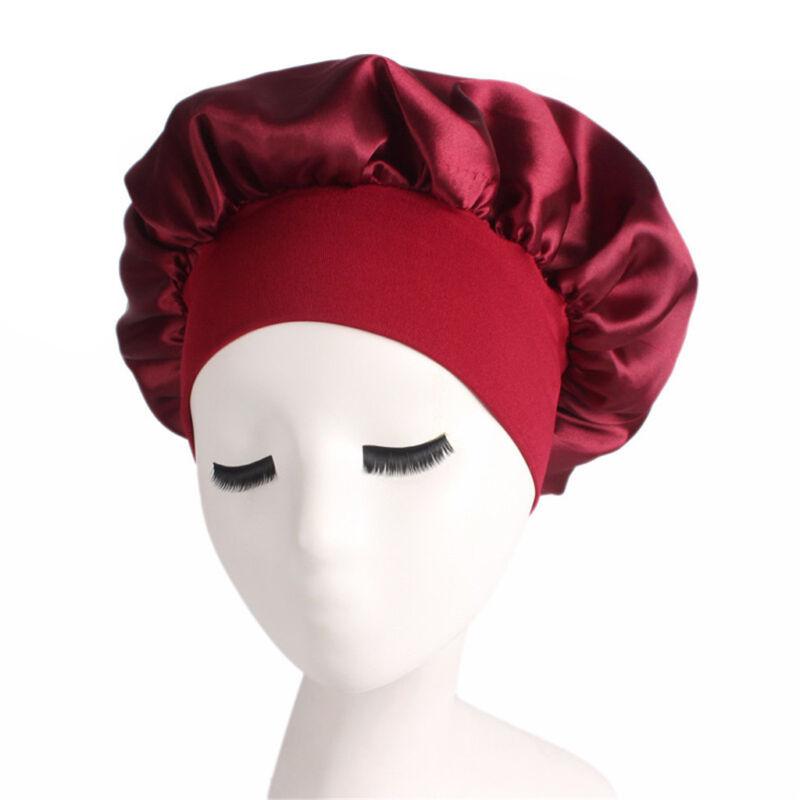 Long Hair Care Women Fashion Satin Bonnet Cap Night Sleep Hat Silk Cap Head Wrap 4