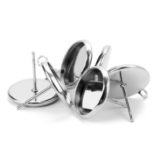 60x Metal Stud Earring Blank Cabochon Base Setting Tray with Loop 12/16/10mm 9