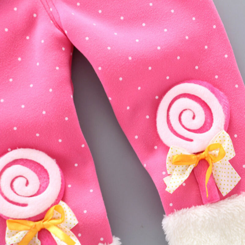 Toddler Baby Girls Dot Candy Thick Warm Pants Trousers Legging Clothes UK 11