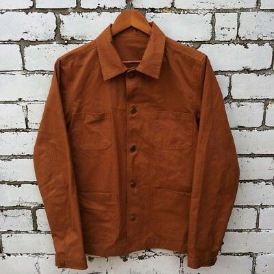 Various Sizes 60s Style French Olive Green Cotton Twill Corduroy Chore Jacket