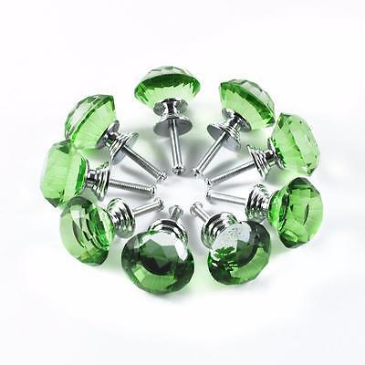 10 Green Crystal Glass kitchen Cabinet Knob Cupboard Drawer Dresser shabby Chic 2