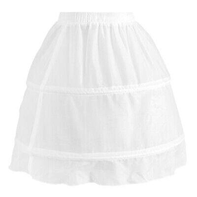 Girls 2 Hoop Tulle Wedding Flower Girl Short Chiffon Petticoat Underskirt 2