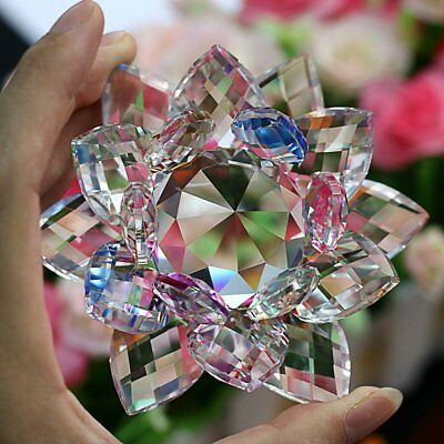 Large Crystal Cut Multi Lotus Flower Ornament With Gift Box For Christmas Xmas_U 2