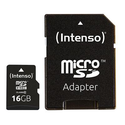 kQ Intenso microSDHC Karte 16GB Class 10 Speicherkarte mit SD Adapter 16 GB