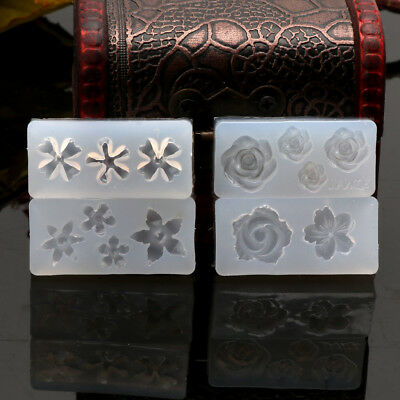 4Pcs Silicone 3D Flowers Cabochon Nail Art Mold UV Expory Resin Jewelry Making 6