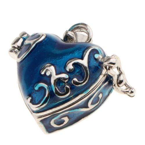 Black Enamel Heart Cremation Jewelry Keepsake Memorial Urn Pendant Necklace P037