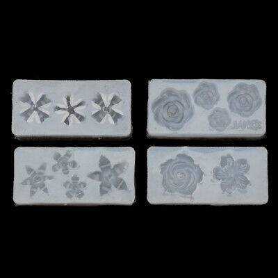 4Pcs Silicone 3D Flowers Cabochon Nail Art Mold UV Expory Resin Jewelry Making 4