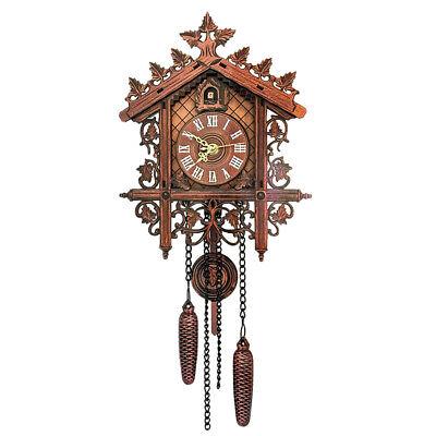 European Vintage Cuckoo Clock w/ Pendulum Hand-carved Wood Wall Clock Room Decor 7