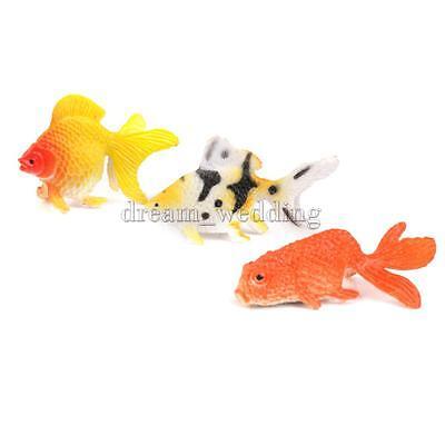 12x Plastik Tier Figur set Kunststoff Spielzeug Sammlung Goldfisch