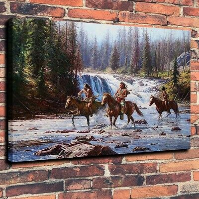 """HD Art Canvas Print Oil Painting Crow, National Park, The Waterfall ,16""""x20"""" 2"""