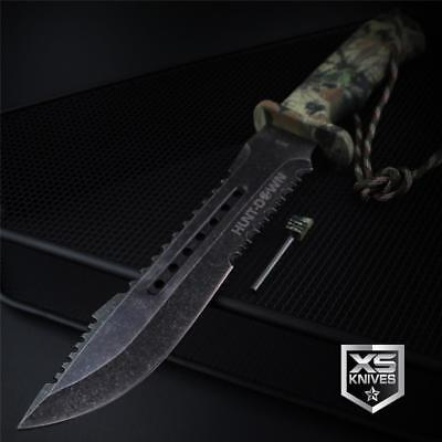 "Tactical STONEWASHED Combat CAMO Bowie Survival FIRE STARTER Hunting Knife 12"" 4"
