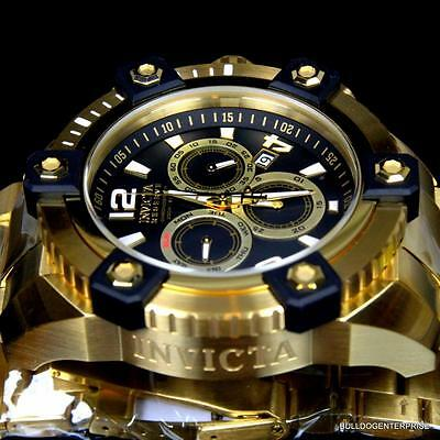 Invicta Reserve Grand Arsenal 63mm Swiss Movt Black MOP Gold Plated Watch New 7