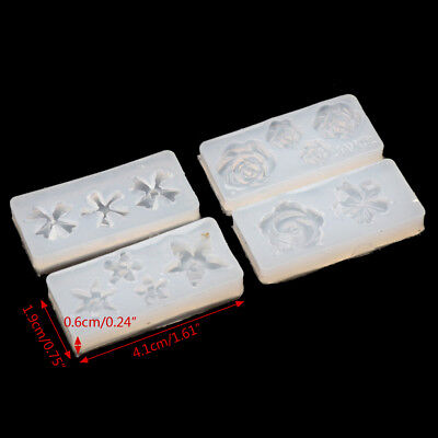 4Pcs Silicone 3D Flowers Cabochon Nail Art Mold UV Expory Resin Jewelry Making 2