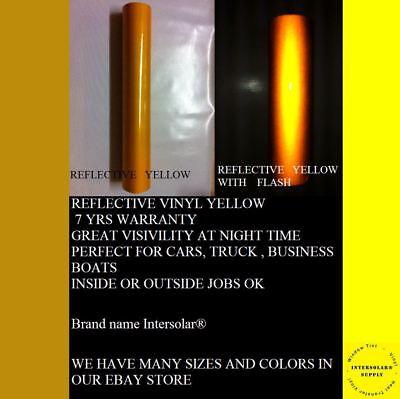 "24"" x 10 ft  YELLOW  Reflective Vinyl Adhesive Cutter Sign Hight Reflectivity 2"