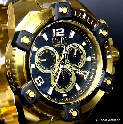 Invicta Reserve Grand Arsenal 63mm Swiss Movt Black MOP Gold Plated Watch New 11