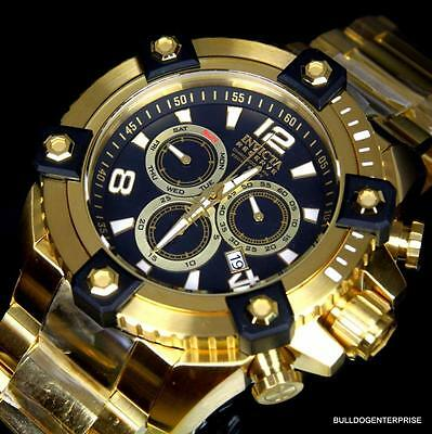 Invicta Reserve Grand Arsenal 63mm Swiss Movt Black MOP Gold Plated Watch New 8