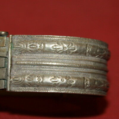 Antique Greek Handcrafted Engraved Silver Folk Hinged Cuff Bracelet 11