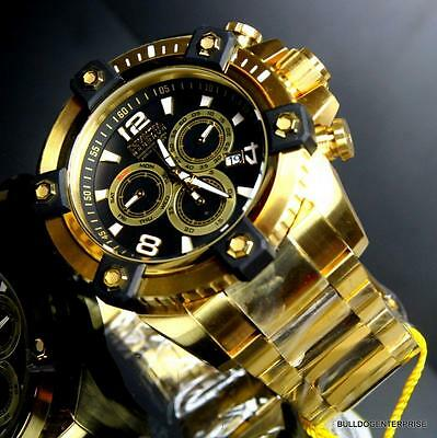 Invicta Reserve Grand Arsenal 63mm Swiss Movt Black MOP Gold Plated Watch New 5