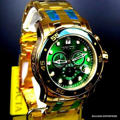 Mens Invicta Pro Diver Scuba 18kt Gold Plated Chronograph Green 48mm Watch New 11