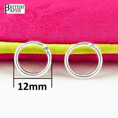 Girls 925 Sterling Silver 8mm -20mm Small Tiny Hinged Hoop Sleeper Earrings Pair 4