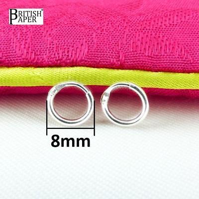 Girls 925 Sterling Silver 8mm -20mm Small Tiny Hinged Hoop Sleeper Earrings Pair 2