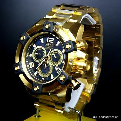 Invicta Reserve Grand Arsenal 63mm Swiss Movt Black MOP Gold Plated Watch New 12