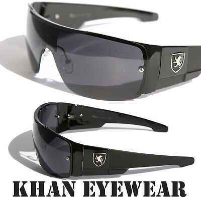 ... Mens oversized Sunglasses Khan eyewear SHIELD SPORTY WRAP AROUND BIKER  SHADES 2 155a42712175