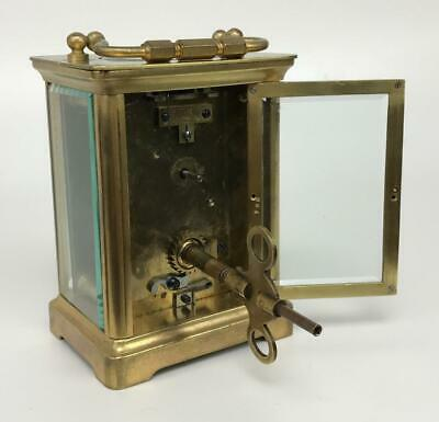 Antique 19thC French Brass Glass Carriage Officers Clock +Key HENRI JACOT (Attr) 5