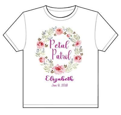 FLOWER GIRL T-SHIRT PETAL POWER Personalized Customized Wedding Toddler to Adult