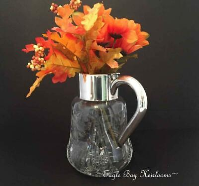 Antique Lead Crystal, Chased Grapes & Leaves, ASCI Silverplated Germany Pitcher 7