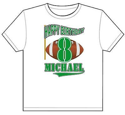 FOOTBALL Theme BIRTHDAY T SHIRT Personalized Any Name Age Color Toddler To Adult