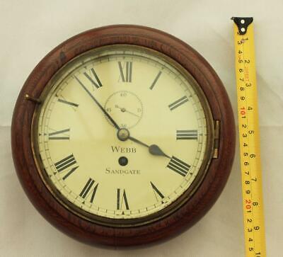 "Rare Miniature Antique English Mahogany 8 Day 7"" Fusee Dial Clock Webb Sandgate 2"