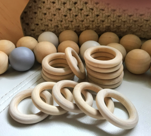 10 x 40mm raw natural wood rings round pram craft baby donut ring wooden teether 3