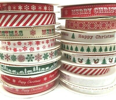 Happy Merry Christmas Ribbons Snowflakes Ribbon Gift Wrapping  1 , 3 or 5 Metres 4