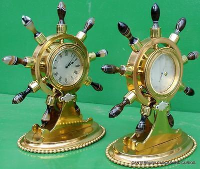 Howell James & Co Antique Ormolu Maritime Marine Navel Agate Clock Barometer 5
