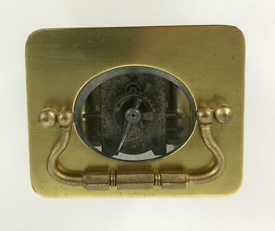 Antique 19thC French Brass Glass Carriage Officers Clock +Key HENRI JACOT (Attr) 7