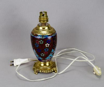 Antique 19th.C French Cloisonne Enamels Lamp Base Working Order ! 2
