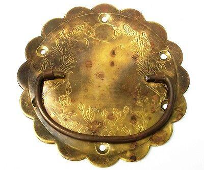 PAIR....Antique Hardware Brass Drawer Pull Trunk Part Chest Handle Salvaged Part 2
