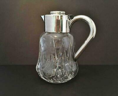 Antique Lead Crystal, Chased Grapes & Leaves, ASCI Silverplated Germany Pitcher 11
