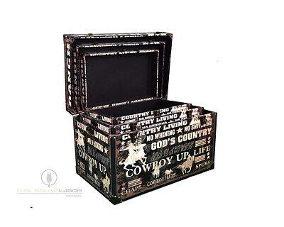 3er Set Kisten Cowboylook Aufbewahrung Box Kiste Truhe Wohnen Vintage NEU & OVP 2
