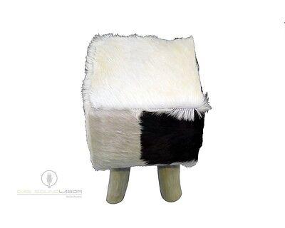 Amaris ElementsFell Hocker Sofa eckig Ziegenfell 70x70x42cm Pouf weiß braun