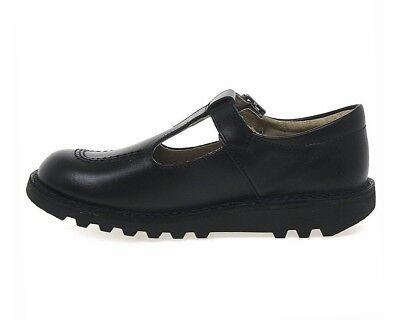 KICKERS T Y Barre en Cuir Chaussures Fille Noir Travail