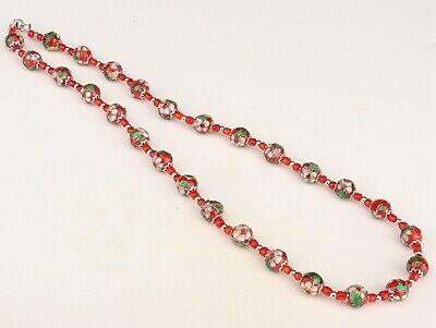 Vintage Chinese Cloisonne Enamel Necklace Old Handmade Decorative 4