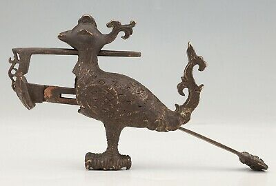 Antique Chinese Bronze Lock Statue Peacock Mascot Old Collection Gift 8