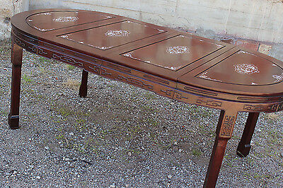 Vintage Chinese Rosewood and Mother-of-Pearl Dining Table 3