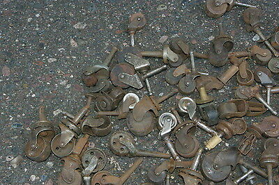 95 Antique Industrial Casters  Furniture Cabinets Wood & Metal Porcelain Wheels 5