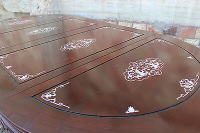 Vintage Chinese Rosewood and Mother-of-Pearl Dining Table 4