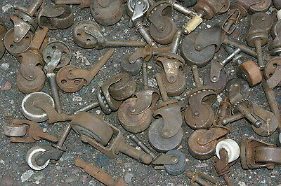 95 Antique Industrial Casters  Furniture Cabinets Wood & Metal Porcelain Wheels 8
