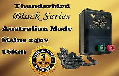 16km MAINS Power Electric Fence ENERGISER Charger Thunderbird M120 Black Farm 2