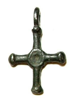Ancient Rare Vikings Age bronze cast cross pendant. Kievan Rus 2